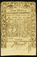 Colonial Notes:Rhode Island, Rhode Island May 1786 3s Extremely Fine-About New.. ...
