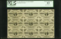Fractional Currency:Third Issue, Fr. 1226 3¢ Third Issue Block of Nine Notes PCGS Choice About New 55.. ...