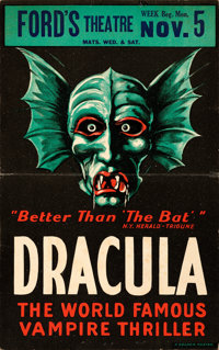 """Dracula (Ford's Theatre, 1928). Stage Play Window Card (14"""" X 21.75"""")"""