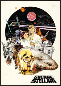 "Star Wars by Michelangelo Papuzza (20th Century Fox, 1977). Original Mixed Media Concept Artwork (10"" X 14"")..."
