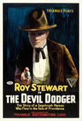 "Movie Posters:Western, The Devil Dodger (Triangle, 1917). Very Good/Fine on Linen. One Sheet (28"" X 40.75""). Western.. ..."