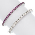 Estate Jewelry:Rings, Diamond, Pink Sapphire, White Gold Rings. ... (Total: 2 Items)