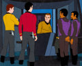Movie/TV Memorabilia:Original Art, Star Trek: The Animated Series Enterprise and Klingon Crew Production Cel Setup (Filmation, 1973). ...