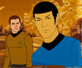 Movie/TV Memorabilia:Original Art, Star Trek: The Animated Series Spock and Captain KirkProduction Cel Setup (Filmation, c. 1973-74). ...