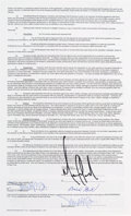 Music Memorabilia:Autographs and Signed Items, Michael Jackson Signed Contract for the MJ: 30th AnniversaryCelebration, The Solo Years, Circa 2001....