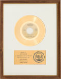 "Music Memorabilia:Awards, Sly & the Family Stone ""Family Affair"" RIAA White Mat GoldRecord Sales Award (Epic 5-10805, 1971)...."