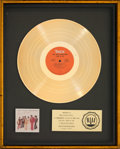 Music Memorabilia:Awards, Isley Brothers Live It Up RIAA Gold Record Sales Award(T-Neck PZ 33070, 1973)....