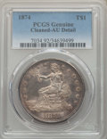 Trade Dollars, 1874 T$1 -- Cleaning -- PCGS Genuine. AU Details. NGC Census:(5/116). PCGS Population: (12/148). CDN: $350 Whsle. Bid for...