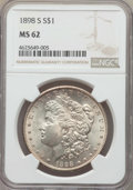 Morgan Dollars: , 1898-S $1 MS62 NGC. NGC Census: (442/1387). PCGS Population: (715/3102). CDN: $300 Whsle. Bid for problem-free NGC/PCGS MS6...