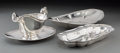 Silver Holloware, American:Bowls, Two American Silver Bread Trays with Gravy Boat and Underplate,20th century. Marks: (various). 12 inches wide (30.5 cm) (la...(Total: 4 Items)