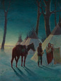 Fine Art - Painting, American, Robert Farrington Elwell (American, 1874-1962). Meeting at Dawn. Oil on canvas. 26 x 20 inches (66.0 x 50.8 cm). Signed ...