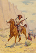 Paintings, Robert Farrington Elwell (American, 1874-1962). Gunman's Spawn, All Western Magazine cover, January 1934. Oil on board. ...