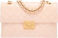 """Luxury Accessories:Bags, Chanel Light Blush Pink Patent Goatskin Leather Accordion Flap Bagwith Gold Hardware. Condition: 3. 10"""" Width x 6.3""""..."""