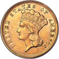 Three Dollar Gold Pieces, 1854-D $3 AU55 PCGS. CAC. Variety 1-A....