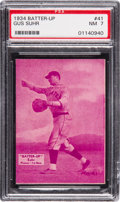 Baseball Cards:Singles (1930-1939), 1934-36 Batter-Up Gus Suhr #41 PSA NM 7 - Pop Two, Two Higher. ...