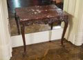 Furniture , A Pair of Louis XV-Style Carved Consoles with Sienna Marble Tops, 19th century and later. 29 h x 35-1/2 w x 13-1/4 d inches ... (Total: 2 Items)