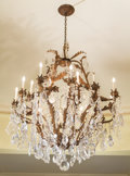 Decorative Arts, Continental:Other , A Large Louis XV-Style Crystal and Wrought Iron Sixteen-LightChandelier, 20th century. 58 inches high x 50 inches diameter ...
