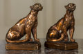 Decorative Arts, Continental, A Pair of Copper Clad Mountain Lion Bookends, 20th century. 9inches high (22.9 cm). ... (Total: 2 Items)