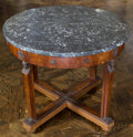 Furniture , An Empire-Style Mahogany Center Table with Gris Marble Top, 19th century. 28-1/4 inches high x 35-5/8 inches diameter (71.8 ...