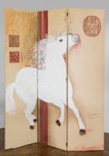 """Fine Art - Painting, American, A Three-Panel Chinoiserie Room Screen of the """"Silver Fox"""" TennesseeWalking Horse Painted by Zsa Zsa Gabor, late 20th centur..."""