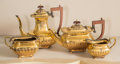 Silver Holloware, British:Holloware, A Four-Piece English George III-Style Gilt Silver-Plated Tea andCoffee Set, mid-20th century. 9 inches high (22.9 cm) (tall...(Total: 4 Items)