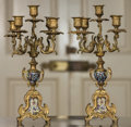 Decorative Arts, French:Lamps & Lighting, A Pair of French Louis XV-Style Gilt Bronze and ChampleveFive-Light Candelabra, late 19th century. 17-1/4 h x 8 w x 8 dinc... (Total: 2 Items)