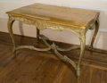 Furniture , A Louis XV-Style Partial Gilt Salon Table, early 20th century. 30 h x 49 w x 29-1/2 d inches (76.2 x 124.5 x 74.9 cm). ...