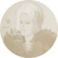"""Fine Art - Painting, American:Contemporary   (1950 to present)  , A Zsa Zsa Gabor Portrait from """"The Dean Martin Celebrity Roast"""" in1974.. NBC Television, 1974.. Oil on circular board. ..."""