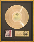 Music Memorabilia:Awards, Rolling Stones Love You Live RIAA Gold Record Sales AwardPresented to Charlie Watts (Rolling Stones COC 2-9001, 1...