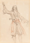 Mainstream Illustration, Dean Cornwell (American, 1892-1960). The Pirate, probableCaptain Blood Returns study. Pencil and pastel on board. 25 x...