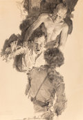 Mainstream Illustration, Howard Chandler Christy (American, 1872-1952). One on HisKnees. Ink wash on board. 36 x 25.5 in.. Signed lower center....