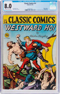 Golden Age (1938-1955):Classics Illustrated, Classic Comics #14 Westward Ho! - First Edition (Gilberton, 1943)CGC VF 8.0 Off-white to white pages....