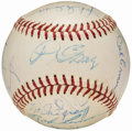 Autographs:Baseballs, 1959 International League All-Star Game Team Signed Baseball, withLemon and Lasorda (21 Signatures).. ...