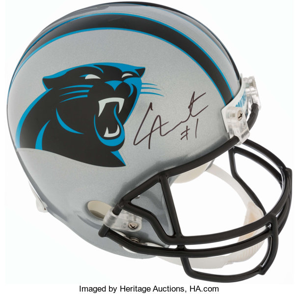 the latest 797d3 f6548 Cam Newton Signed Carolina Panthers Full Sized Helmet ...
