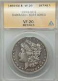Morgan Dollars, 1893-CC $1 -- Damaged, Scratched -- ANACS. VF 20 Details. NGC Census: (191/2913). PCGS Population: (305/5759). CDN: $550 Wh...