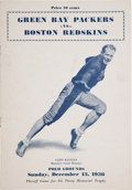Football Collectibles:Programs, 1936 NFL Championship Game Program - Packers 1st Title Game Victory!...