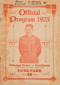 Football Collectibles:Programs, 1925 Chicago Bears vs. Chicago Cardinals Program - Red Grange's Bears Debut!...