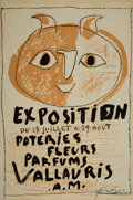 Prints & Multiples, Pablo Picasso (1881-1973). Exposition Poteries Fleurs Parfums Vallauris A.M., circa 1948. Lithograph in colors on paper...