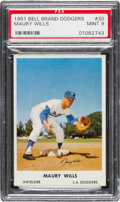 Baseball Cards:Singles (1960-1969), 1961 Bell Brand Dodgers Maury Wills #30 PSA Mint 9 - Pop T...
