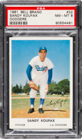 Baseball Cards:Singles (1960-1969), 1961 Bell Brand Dodgers Sandy Koufax #32 PSA NM-MT 8. ...