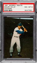 Baseball Cards:Singles (1960-1969), 1961 Morrell Meats Dodgers Maury Wills PSA NM-MT 8 - Pop One, NoneHigher. ...