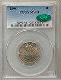 Liberty Nickels, 1898 5C MS64+ PCGS. CAC. PCGS Population: (219/147). NGC Census: (145/102). CDN: $300 Whsle. Bid for problem-free NGC/PCGS ...