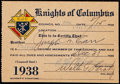 Football Collectibles:Others, 1938 Joe Carr Knights of Columbus Membership Card from The Joe Carr Find. . ...
