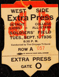 Football Collectibles:Others, 1936 Detroit Lions vs. College All-Stars Press Pass from The Joe Carr Find.. ...
