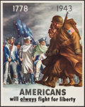 "Movie Posters:War, World War II Propaganda (U.S. Government Printing Office, 1943).OWI Poster No. 26 (22"" X 28""). ""Americans Will Always Fight..."
