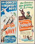 "Movie Posters:Comedy, Let's Go Navy! & Other Lot (Monogram, 1951). Folded, Overall Grade: Fine/Very Fine. Inserts (2) (14"" X 36""). Comedy.. ... (Total: 2 Items)"