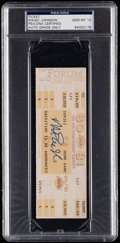 Autographs:Others, 1981 Magic Johnson Signed Playoff Ticket, PSA/DNA Gem Mint 10.. ...