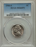 Jefferson Nickels, 1946-S 5C MS66 Full Steps PCGS. PCGS Population: (54/2). NGC Census: (1/0). ...