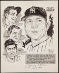 "Autographs:Photos, Mickey Mantle ""HOF 1974"" Signed Phil Bissell Print.. ..."