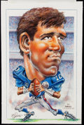 Football Collectibles:Others, Eli Manning Original Cartoon Art by Mike Petronella.. ...